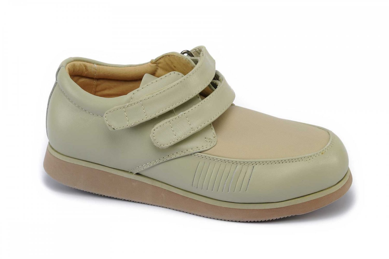 Mt. Emey 618 - Women's Lycra Casual Diabetic Shoes by Apis - Beige Main Angle