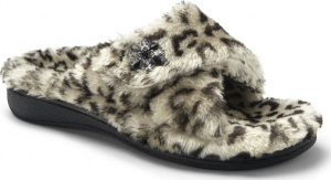 Vionic Relax Luxe Orthotic Support Slipper Grey Leopard