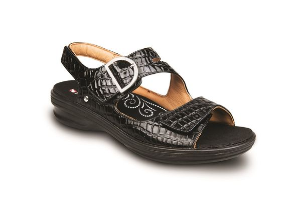 Revere Barcelona - Women's Sandals with Removable Insoles - Black Croc