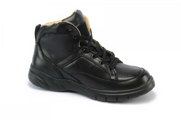 Mt. Emey 9606 - Men's Extra-depth Athletic Hi-Top Therapeutic Shoes - Black Main Angle