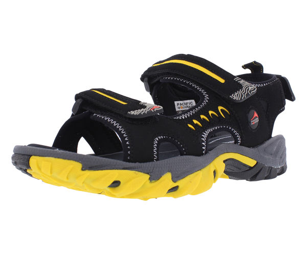 Pacific Mountain Osoyoos Men's Outdoor Comfort Sandal - Black/Yellow angle