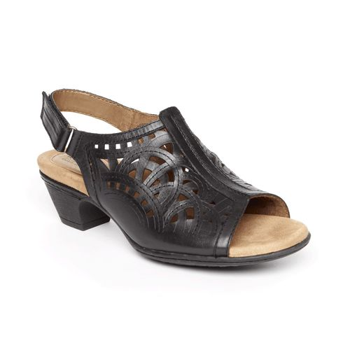 Rockport Cobb Hill Abbott High Vamp Women's Slingback Sandal - Black Leather - Angle