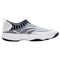 Propet Wash N Wear SlipOn Knit Womens Slip Resistant - White/Navy - out-step view