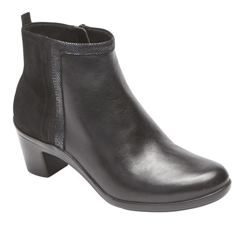 Aravon Lexee Binded Bootie - Women's Heeled Boot - Black Leather - Angle
