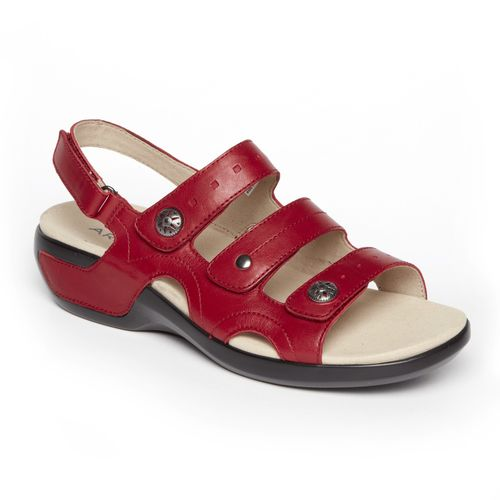 Aravon Power Comfort 3 Strap Women's Sandal - Rio Red Leather - Angle