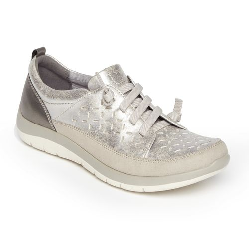 Aravon Wembly Lace - Women's Comfort Sneaker - Silver - Angle