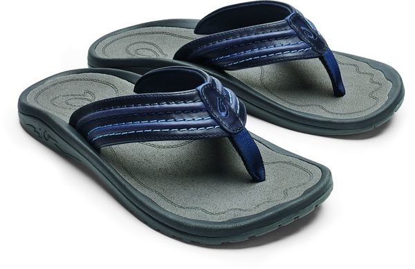 Olukai Hokua Ale Men's Leather Beach Sandals - Navy/Charcoal - Pair
