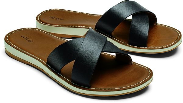 Olukai Kea Women's Leather Slide Sandals - Black/Tan - Pair