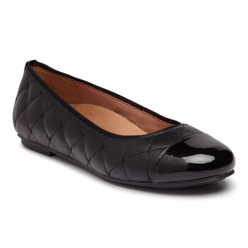 Vionic Desiree Women's Quilted Flat Supportive Dress Shoe - Black - 1 profile view