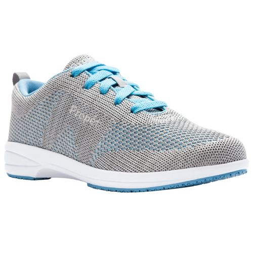 Propet Washable Walker Evolution Women's Lace Up Fashion Sneakers - Lt Grey/Lt Blue - Angle