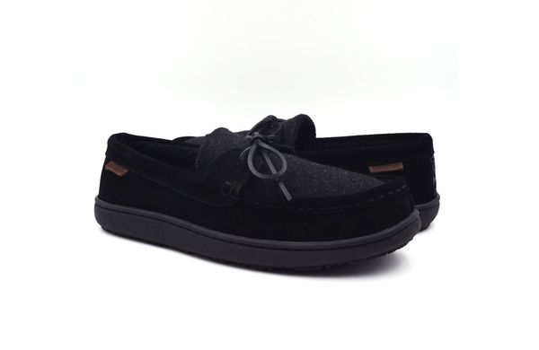 Pendleton Men's Rancho Moc Suede & Pendleton Wool Slipper - Black - Pair