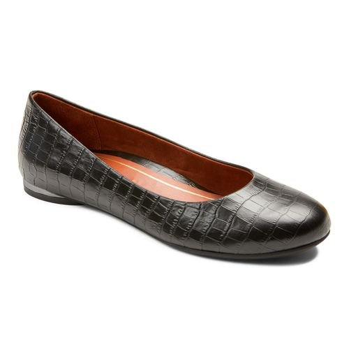 Vionic Hannah Women's Ballet Flats with Arch Support - Black Croc - 1 profile view