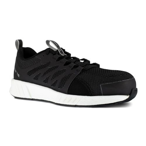 Reebok Work Men's Fusion Flexweave Comp Toe Athletic Work Shoe ESD - Black and White - Profile View
